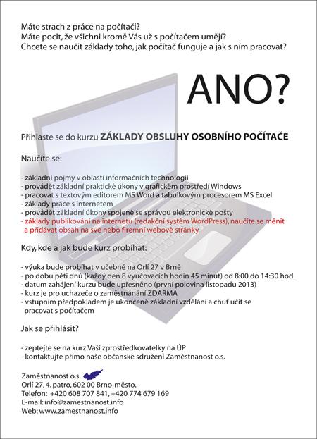 Kurz základy obsluhy osobního počítače od Zaměstnanost o.s.
