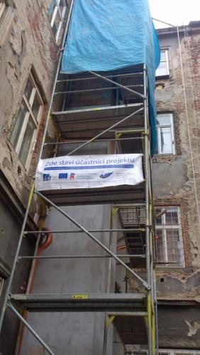 Stavba výtahové šachty - Hileho ulice, Brno