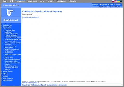 Výpadky při vyhledávání volných pracovních míst na portálu MPSV ze dne 19. 9. 2011