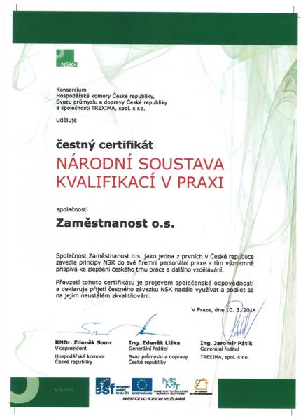 Zaměstnanost o.s. získalo prestižní certifikát NÁRODNÍ SOUSTAVA KVALIFIKACÍ V PRAXI